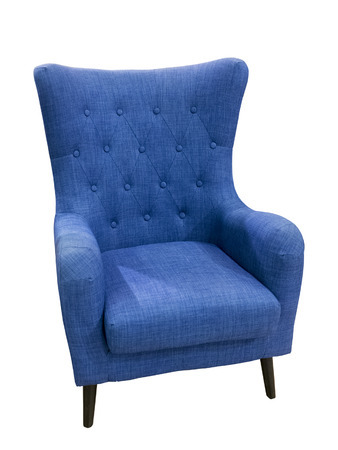 upholstered: Blue color modern textile chair, isolated on white background. Stock Photo