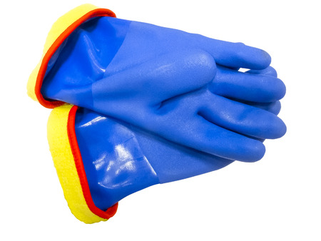 Pair of blue rubber safety gloves, isolated on white background