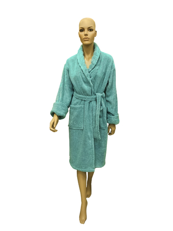 Female mannequin wearing green bathrobe. Isolated on white background