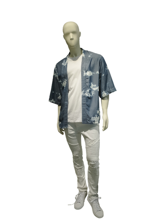 Full-length man mannequin dressed in fashionable summer clothes, isolated on white background. No brand names or copyright objects.