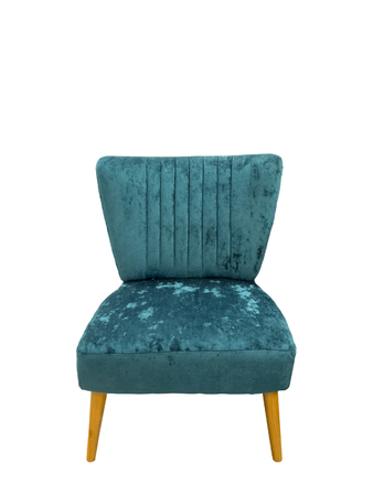 upholstered: Upholstered chair with wooden legs, isolated on white background.