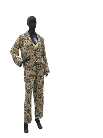 nightwear: Full-length female mannequin in nightwear isolated on white background. No brand names or copyright objects.