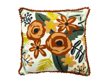Decorative floral throw pillow isolated on white background.