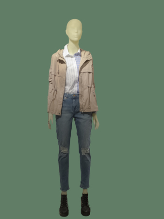 Full-length female mannequin dressed in pink jacket and blue jeans, isolated on green background. No brand names or copyright objects.