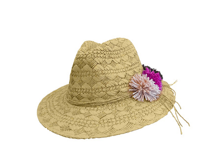 Straw hat with flowers, isolated on white background.