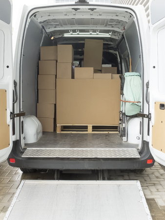 View of the cargo area of a truck.