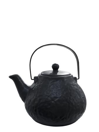 Black iron Japanese teapot, isolated on white background Archivio Fotografico