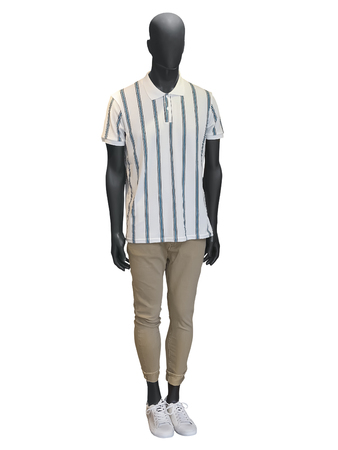 Full-length male mannequin dressed in casual clothes, isolated on white background. No brand names or copyright objects. Reklamní fotografie