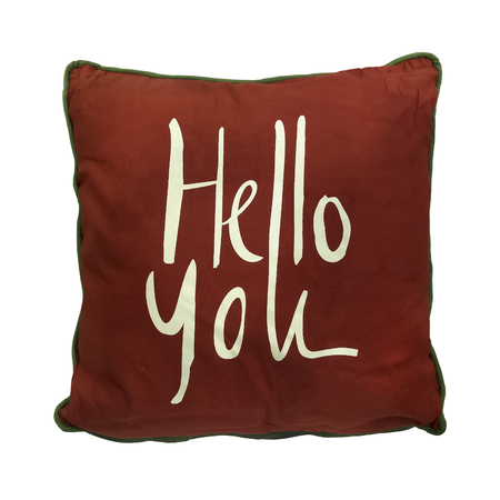 Red couch cushion with HELLO YOU text written on it, isolated on white background. Stock Photo