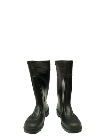 Black rubber boots isolated on white background.