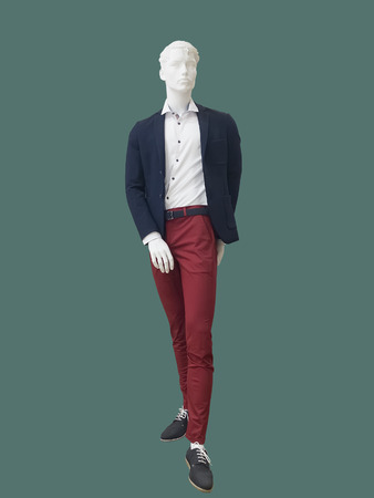 Full-length male mannequin dressed fashionable clothes, isolated. No brand names or copyright objects. Imagens