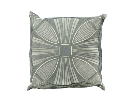 Decorative pillow with geometric pattern. Isolated on white background. Imagens