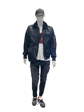 Full-length male mannequin dressed in black jacket with fur collar, isolated on white background. No brand names or copyright objects.