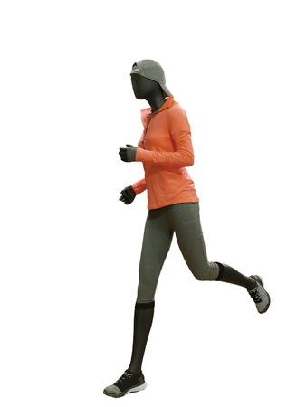 Laufende weibliche Schaufensterpuppe lokalisiert auf weißem Hintergrund. Keine Markennamen oder Copyright-Objekte. Standard-Bild