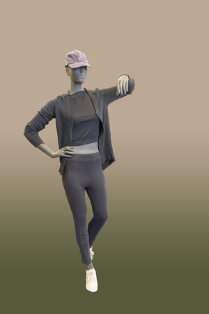 Full-length female mannequin dressed in sportswear, isolated. No brand names or copyright objects. Reklamní fotografie