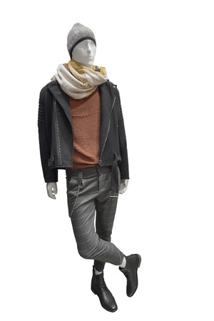 Full-length male mannequin dressed in warm casual clothes, isolated on white background. No brand names or copyright objects. Reklamní fotografie