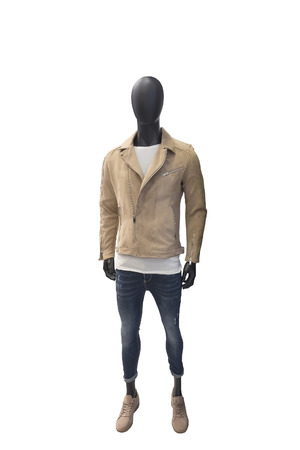 Full-length male mannequin dressed in leather jacket and blue jeans, isolated on white background. No brand names or copyright objects.