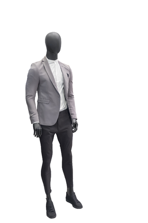 Full-length male mannequin dressed in gray jacket and black trousers, isolated on white background. No brand names or copyright objects.