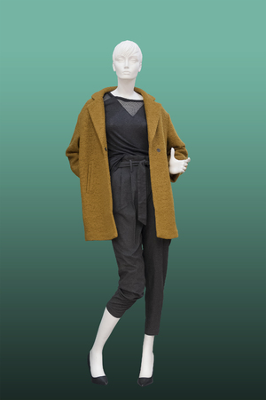 Full-length female mannequin wearing brown coat. Isolated. No brand names or copyright objects.
