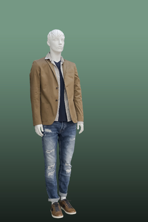 Full-length male mannequin dressed in fashionable clothes, isolated. No brand names or copyright objects Reklamní fotografie