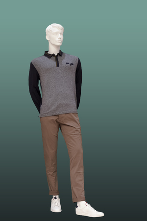 Full-length female mannequin wearing full sleeve polo neck t-shirt, isolated on white background. No brand names or copyright objects.