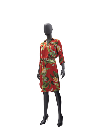 Full-length female mannequin wearing fashionable red dress with floral pattern, isolated on white background. No brand names or copyright objects. Reklamní fotografie