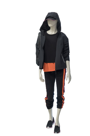 Full-length female mannequin dressed in sportswear, isolated on white background. No brand names or copyright objects.