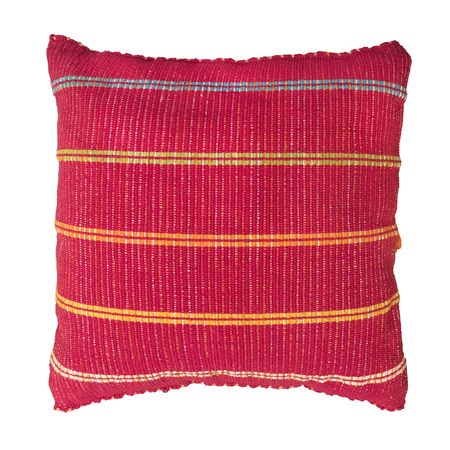 Soft red decorative pillow isolated on white background. Reklamní fotografie - 122708766