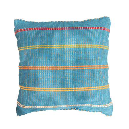 Soft blue decorative pillow isolated on white background. Reklamní fotografie - 122708769