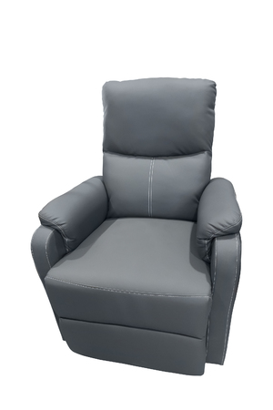 Gray leather armchair isolated on white background.