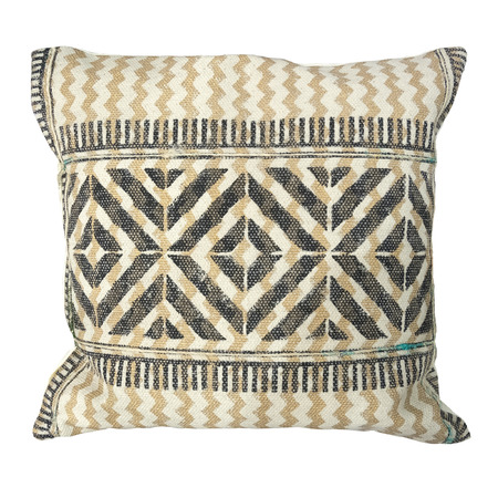 Decorative cushion with knitted pattern. Isolated on white background.