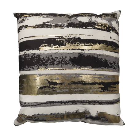 Decorative couch cushion with black and gold pattern, isolated on white background.