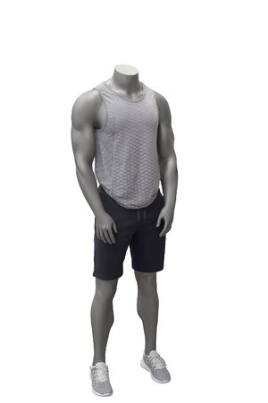 Male mannequin wearing sport athletics clothes over white background. Reklamní fotografie
