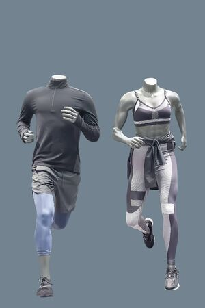 Two running mannequins, isolated. No brand names or copyright objects.