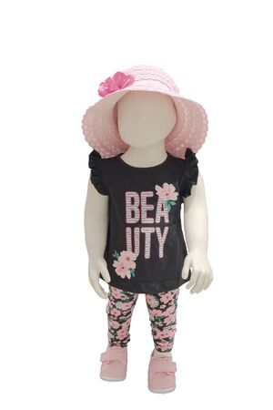 Full-length child mannequin dressed in fashionable childrens clothes, isolated on white background. No brand names or copyright objects.