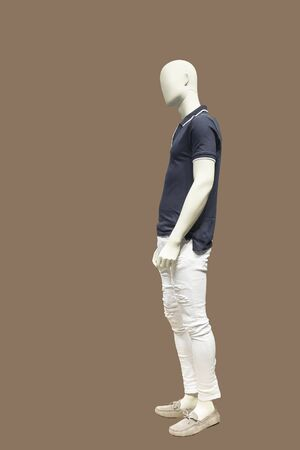 Full-length female mannequin wearing polo neck t-shirt, isolated. No brand names or copyright objects.