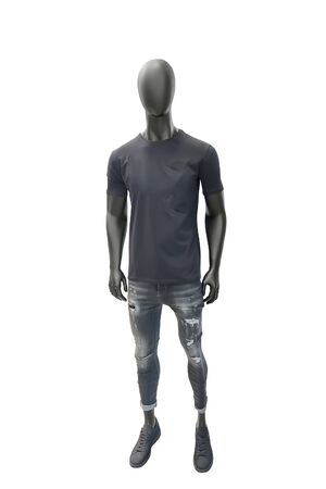 Full-length male mannequin dressed in summer casual clothes, isolated on white background. No brand names or copyright objects.