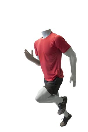 Running male mannequin, isolated on white background. No brand names or copyright objects. Stock fotó