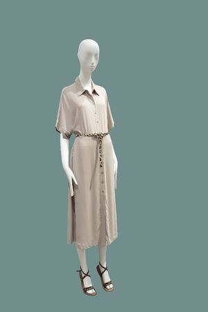 Full-length female mannequin wearing fashionable brown dress, isolated on green background. No brand names or copyright objects.