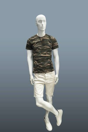 Full-length male mannequin in summer casual clothes, isolated on gray background. No brand names or copyright objects. Imagens