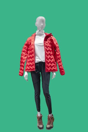 Full-length female mannequin dressed in fashionable clothes, isolated on green background. No brand names or copyright objects. Reklamní fotografie