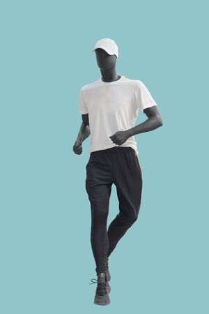 Running full-length male mannequin, isolated. No brand names or copyright objects.