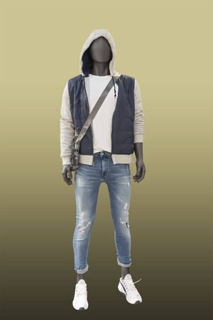 Full-lens male mannequin wearing jacket with hood, isolated. No brand names or copyright objects.