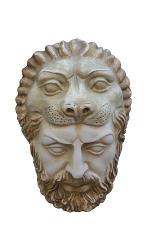 Hercules Greek wall mask with the lion's mouth frames the top of his head, isolated on white background.