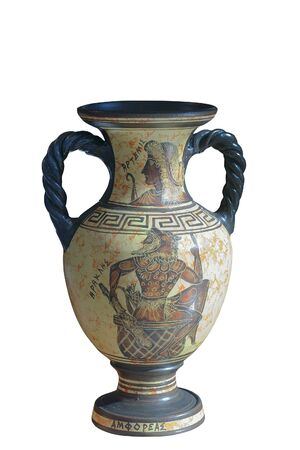 Ancient Greek reproduced amphora with the Images of Heracles and Artemis, isolated on white background. Banco de Imagens