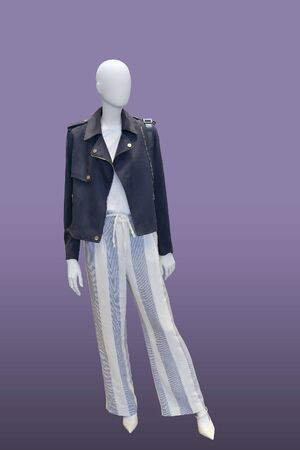 Full-length female mannequin dressed in fashionable clothes, isolated. No brand names or copyright objects.