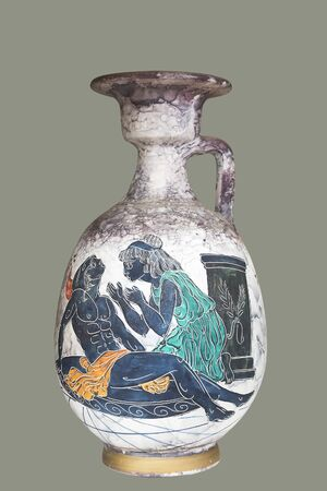 Ancient Greek reproduced vase with mythological paintings, isolated.