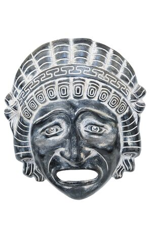 Ancient reproduced mask used from actors on Greek ancient tragedy and comedy in theater performance, isolated on white background.  Souvenir from Greece. Banco de Imagens