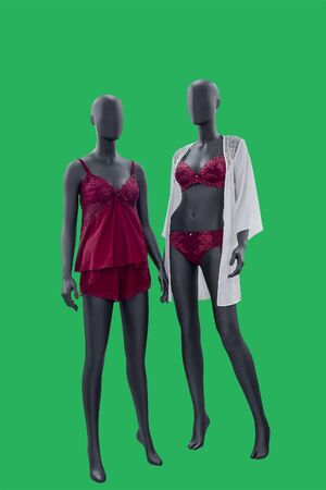 Two full-length female mannequins wearing fashionable nightwear, isolated on green background.