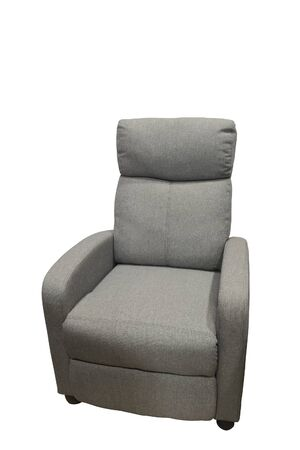 Gray modern textile armchair, isolated on white background.